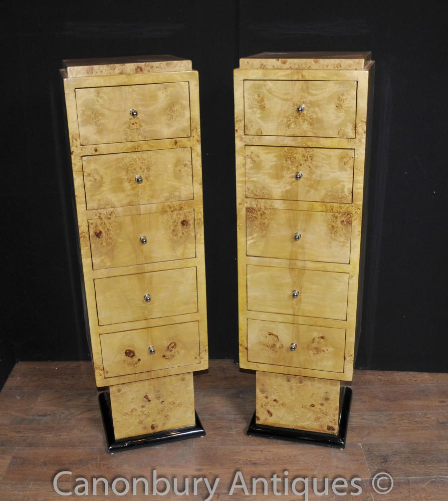 Paire Art déco Tallboy Commodes Armoires