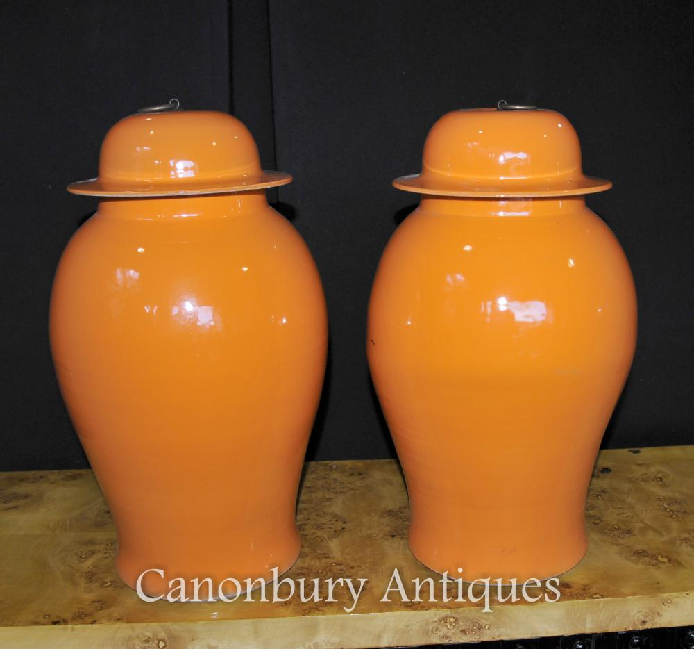 Paire chinois Kangxi Porcelaine Temple Ginger Jars Urnes