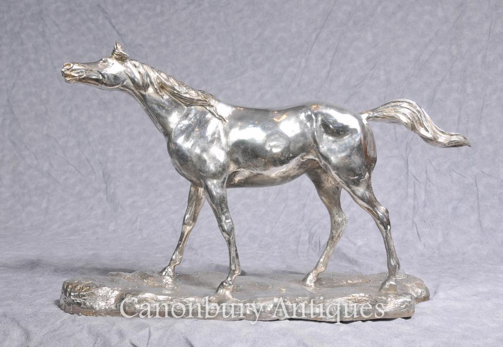 Plaqué Argent Bronze Horse par PJ Mene Statue Sculpture française
