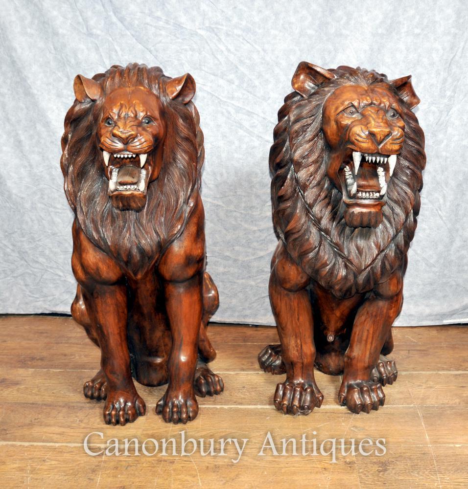 Sculpté Paire Lifesize Main bois africains Lion Gatekeepers Statues Landseer