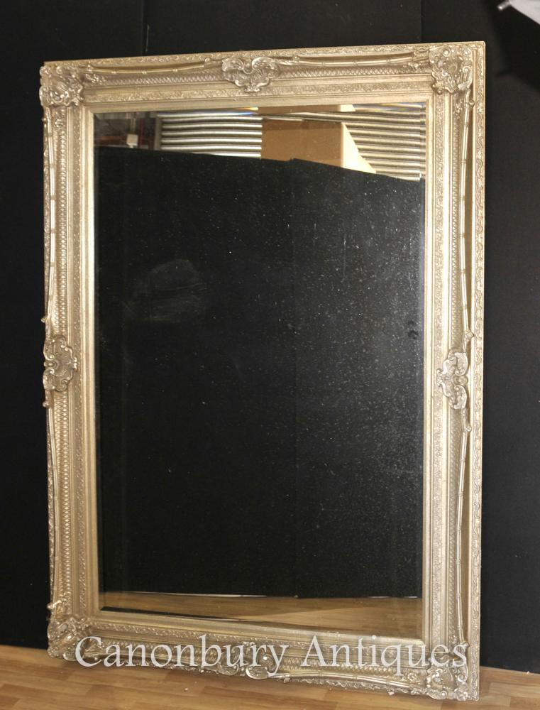 XL Empire français Argent doré Miroir en verre Miroirs
