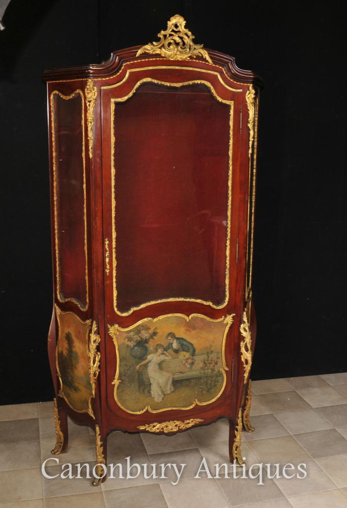 Antique Français Vernis Martin Vitrine Angelica Kauffmann