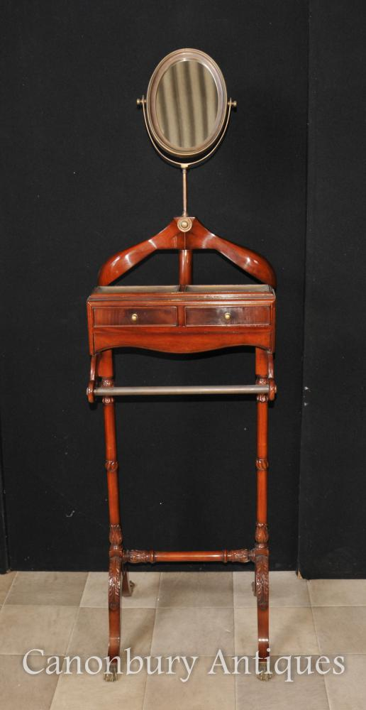 Antique Regency Valet Butler stand Mirror Shirt Presse