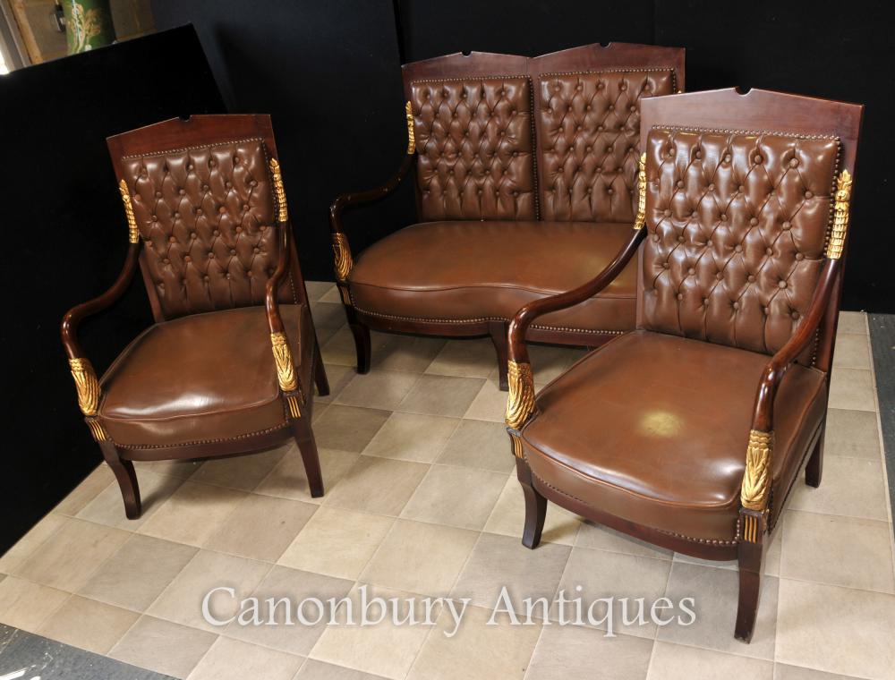 Français Canapé Empire Fauteuil Chaises en cuir Suite Couch