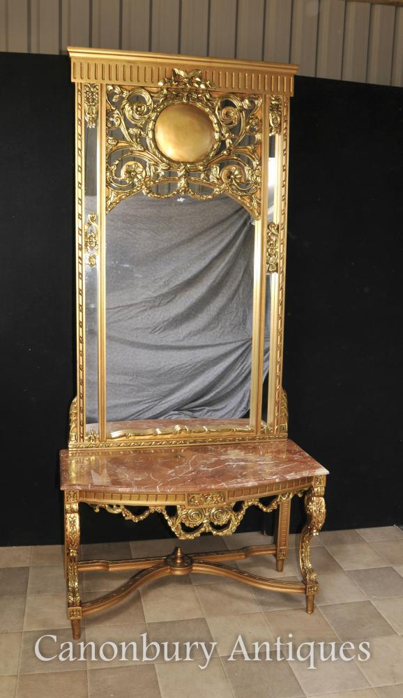 Français Empire Gilt Table Console et miroir Set de Hall Tables