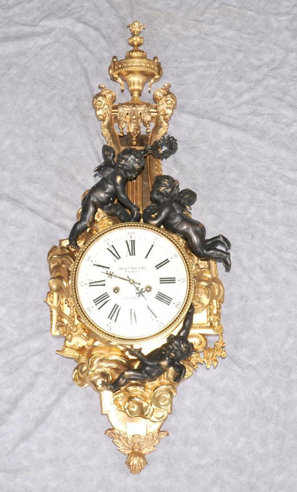 Français Empire Ormolu Cherub Horloge murale Chérubins Bronze Clocks