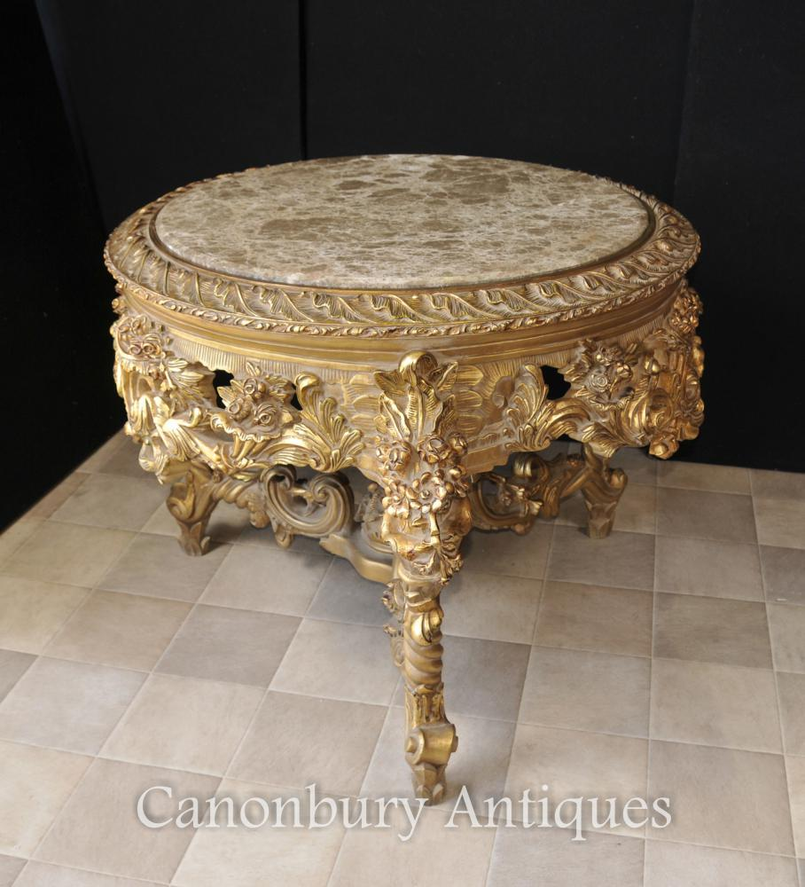 Français Louis XVI Gilt Centre Table Marbre Surmonté Tables