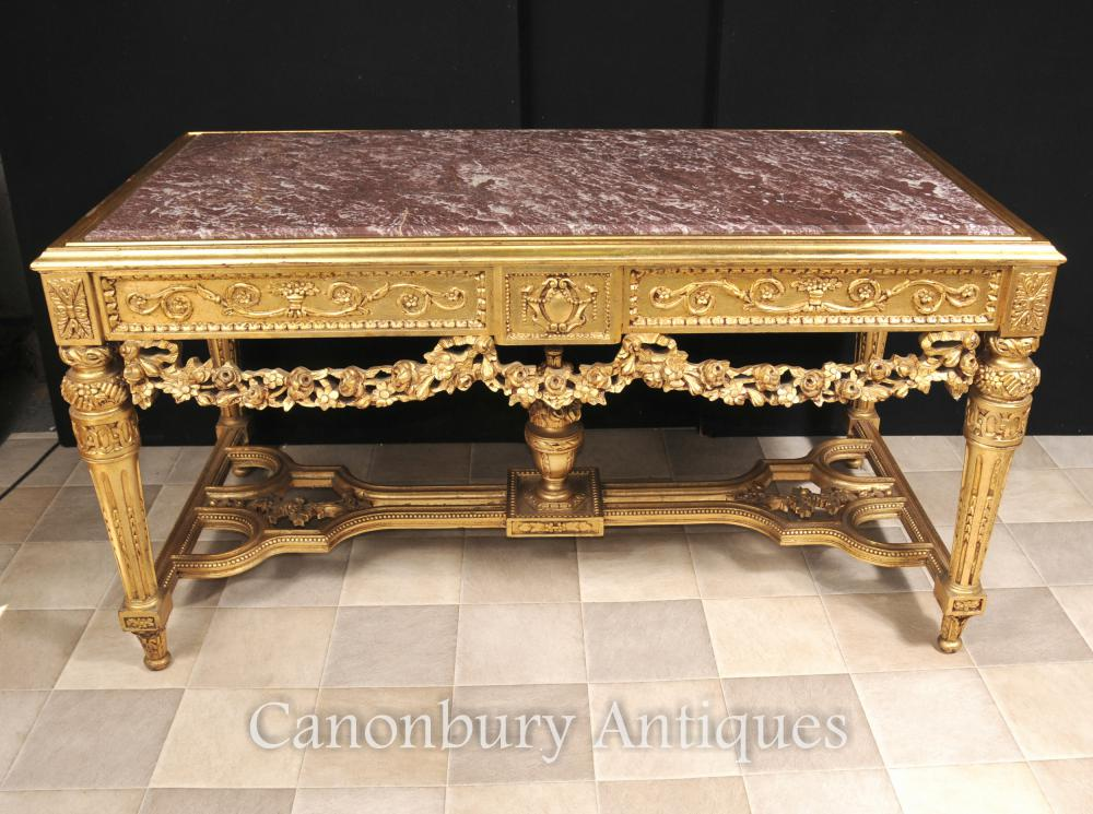 Français Louis XVI Gilt Sculpté Table console Mobilier