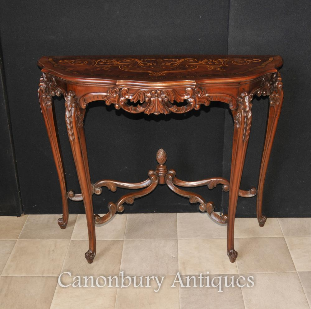 Français Regency Demilune Table console Marqueterie Inlay