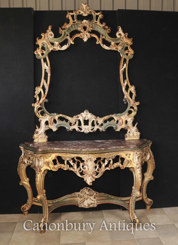 Rococo Italian Painted Gilt Console et miroir Set