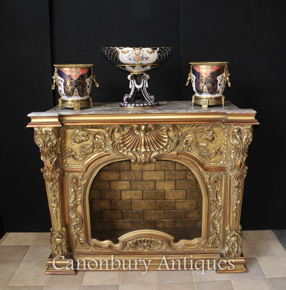 Sculpté Français Louis XVI Gilt Cheminée Mantel Cheminée