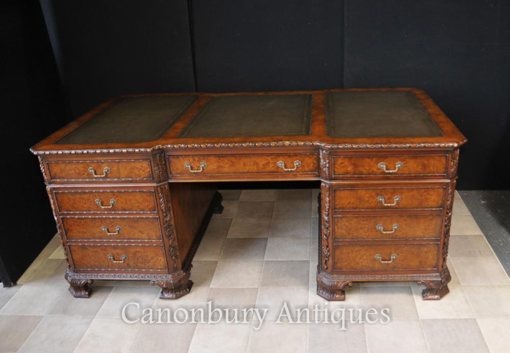 Walnut Regency Partners bureau Noyer Sculpté Table d écriture