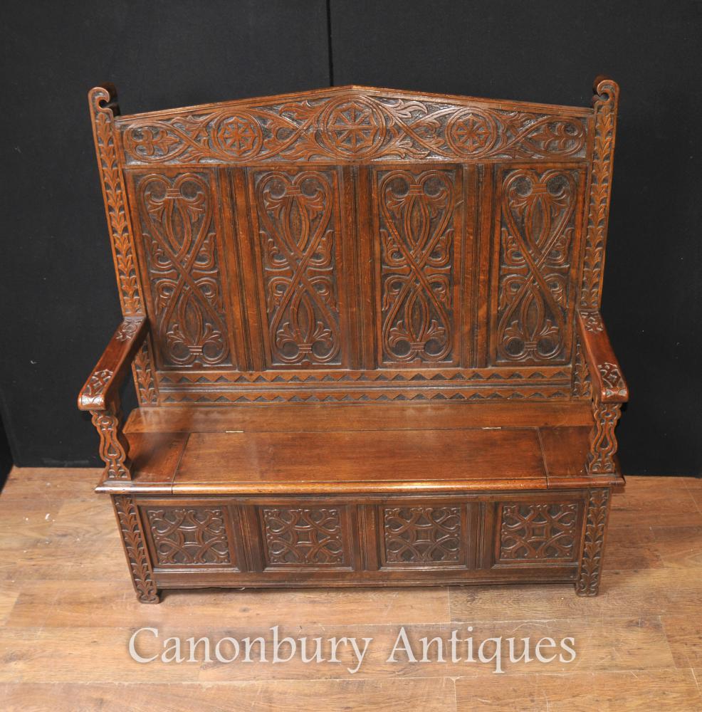 Antique 19e siècle des moines celtiques Bench Settle Seat Carved Oak