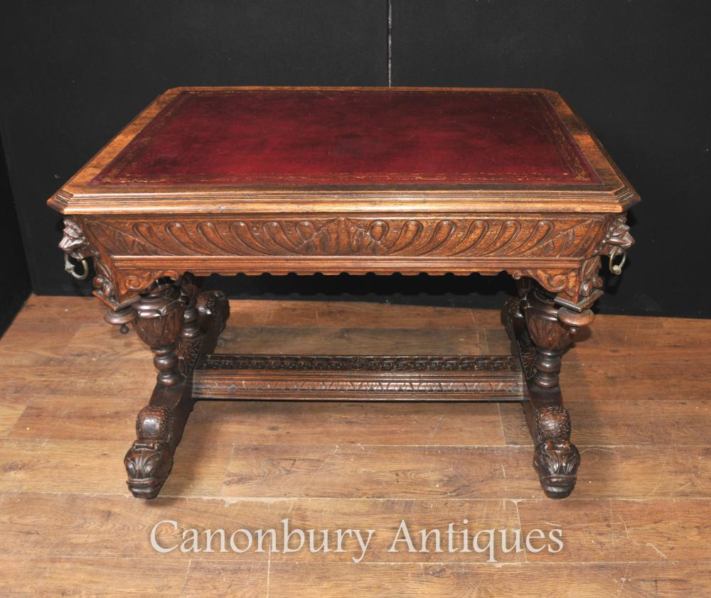 Antique 19e siècle sculpté Oak Table Bibliothèque bureau Table