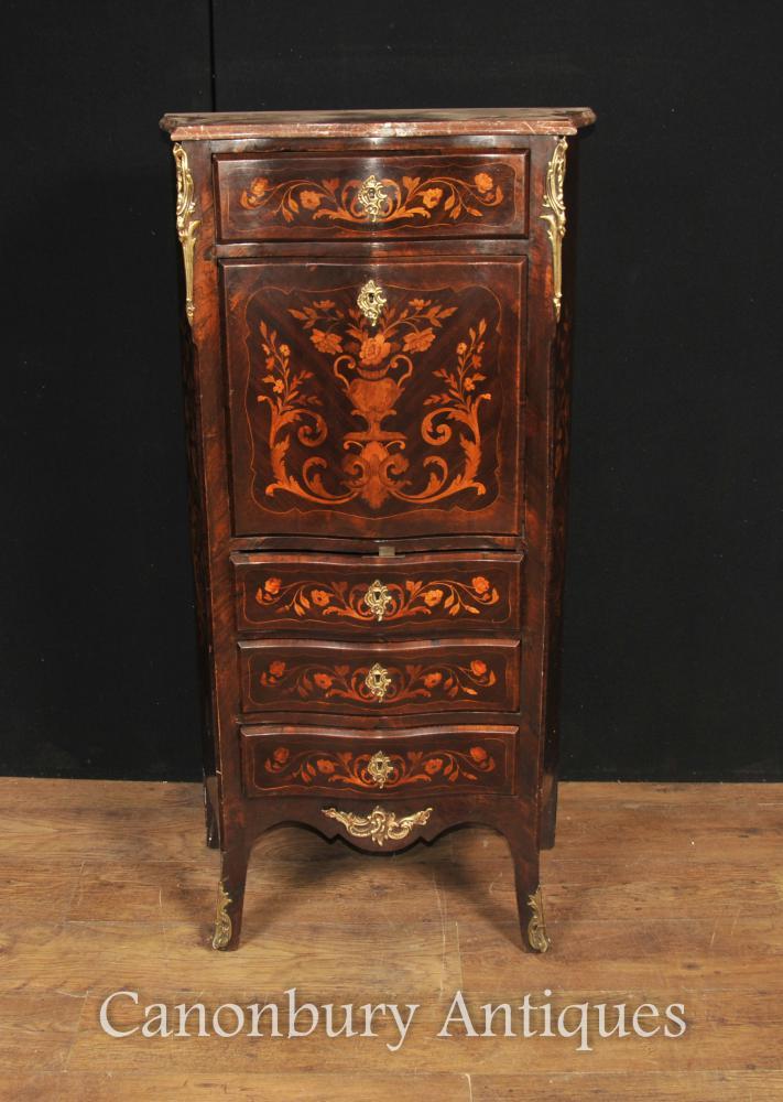 Antique Empire français Écritoire 1880 Bureaux Bureau Chest Marqueterie Inlay