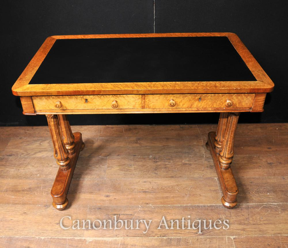 Antique Maple Bois Regency Writing Table bureau Jambes Circa 1830 Tulip