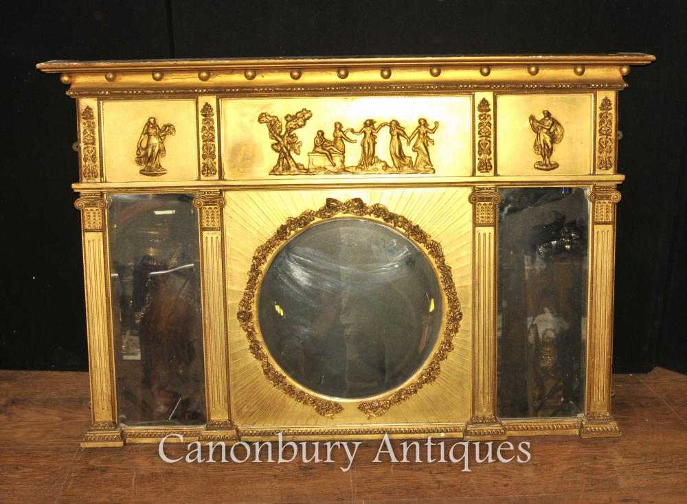 Antique Regency 1815 Gilt Mantle Miroir English Miroirs