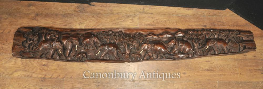 Antique main Sculpté Indian Hardwood Elephant Frieze architecture Plaque