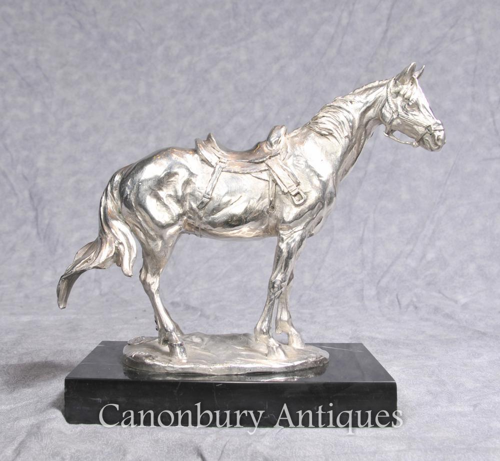 Argent Français Plaqué Bronze Horse Statue par Milo Chevaux