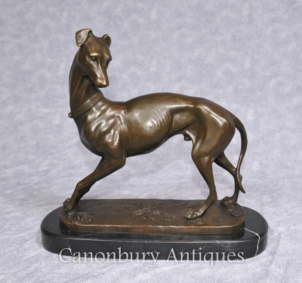 Art Deco Bronze Greyhound Statue par Barye Signée Chiens français
