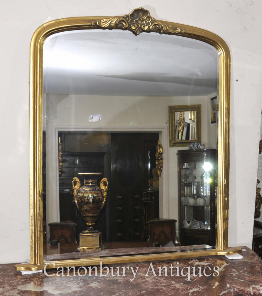 Art Nouveau français Gilt Mantle Miroir en verre Miroirs