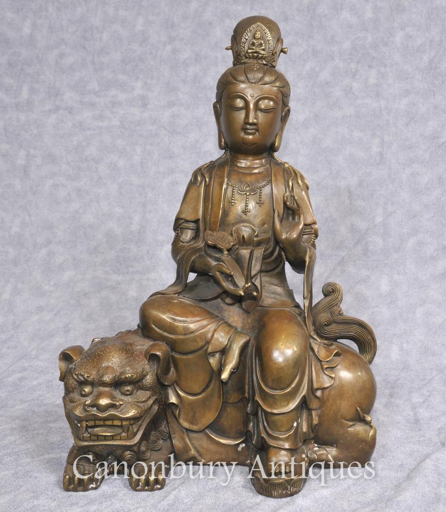Bronze tibétaine Bronze Statue bouddhiste Fugen Monju Samantabhadra Manjushri