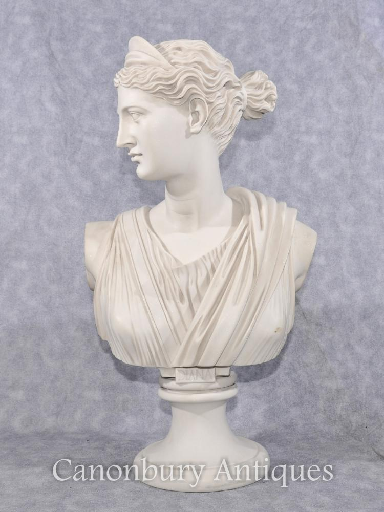 Classique italienne Pierre Buste Diana Sculpture Hunter Statue