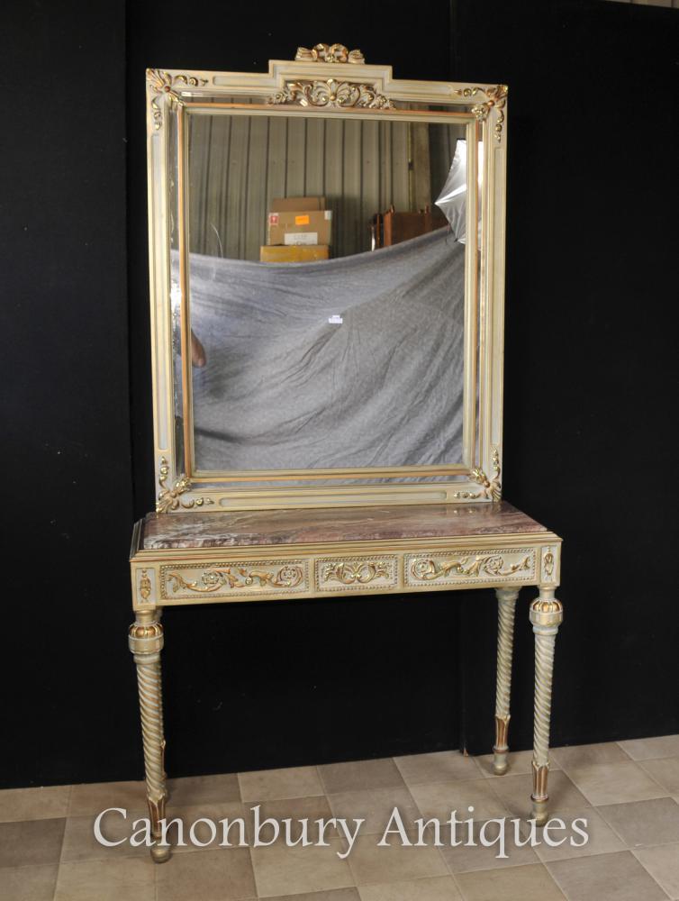 Empire français Painted Table Console et Miroir Set