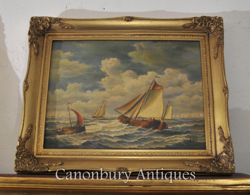 English Victorian Dorset Peinture Navire Maritime Seascape Signé A Hess