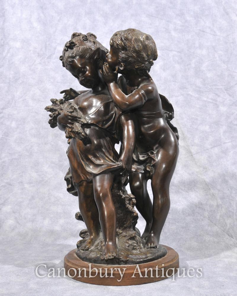 Français Bronze Chérubin et Statue Fille Signé Moreau