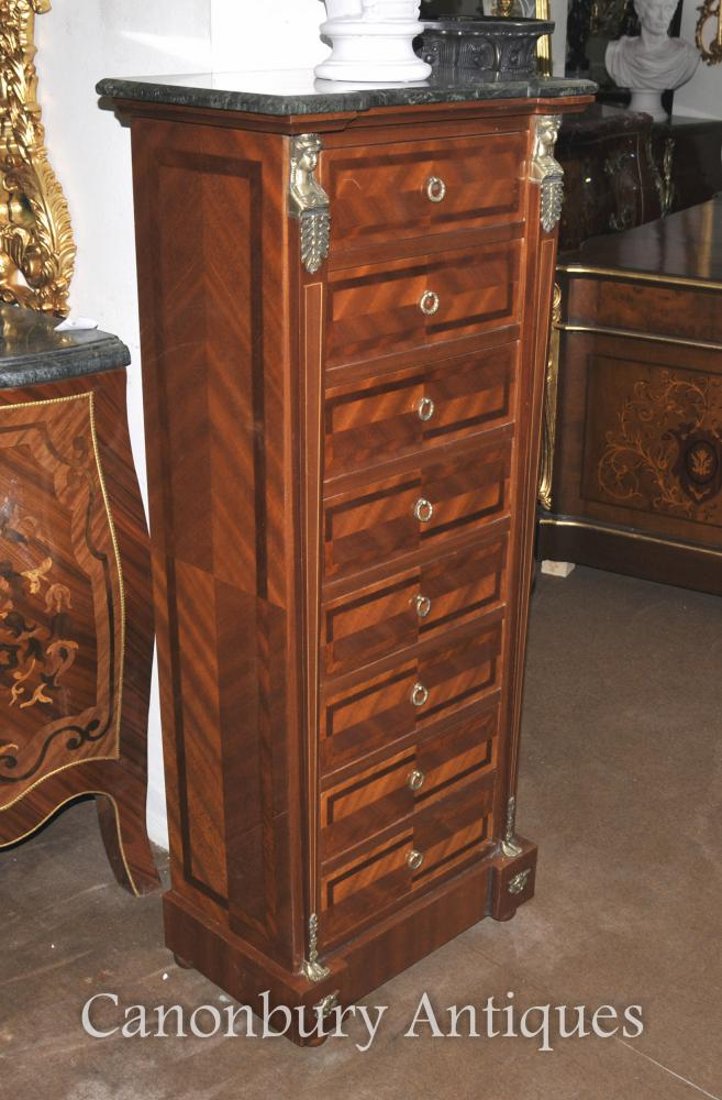 Français Empire Tallboy Chest Tiroirs Kingwood Furniture
