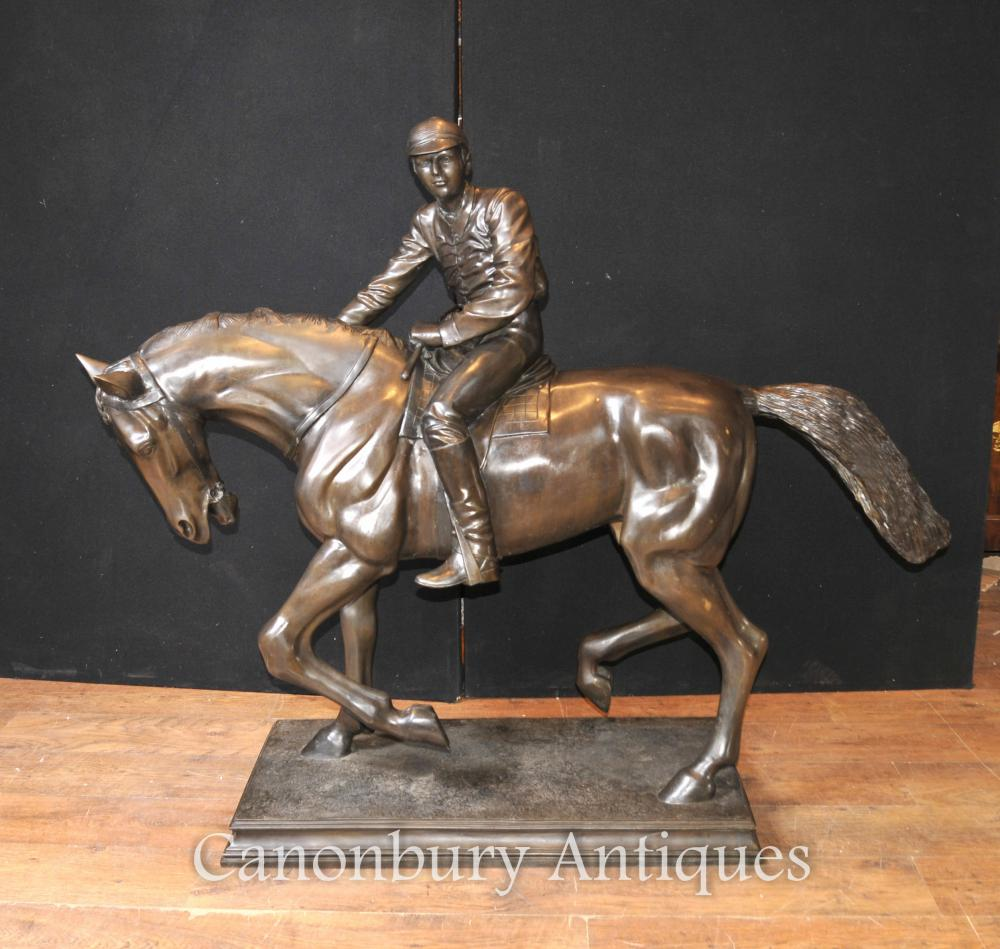 Grand Antique Français Bronze Horse and Jockey Statue Signée
