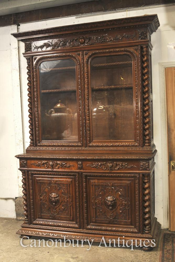 Grand Antique Oak Cabinet Bookcase Ferme Barley Twist 1880