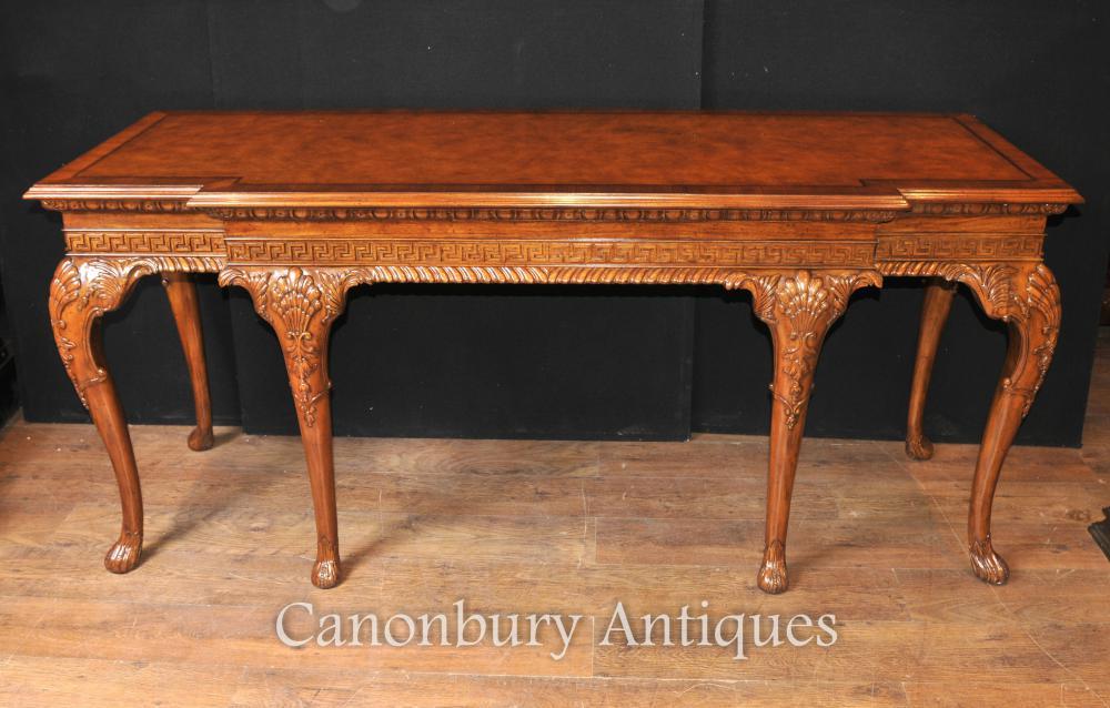 Grand George II Noyer Console Table Main Tables Sculpté serveur