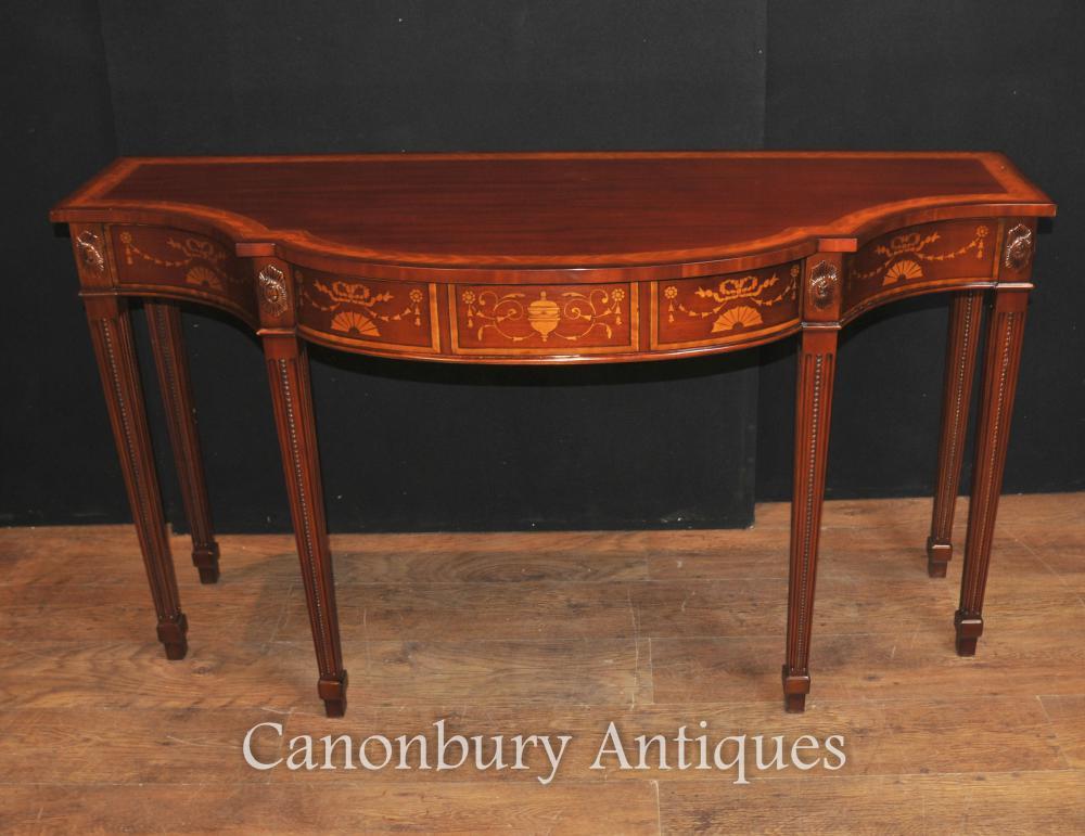 Grande Table Regency Breakfront Console dans les tableaux acajou incrusté Sheraton