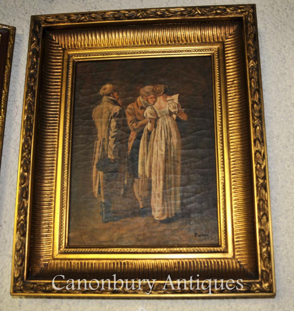 Huile Victorian Peinture Architectes Portrait Signée Wilson