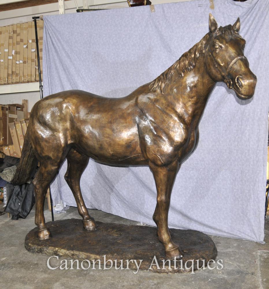 Lifesize Français Bronze Horse Statue Architectural Bronze Chevaux Poney
