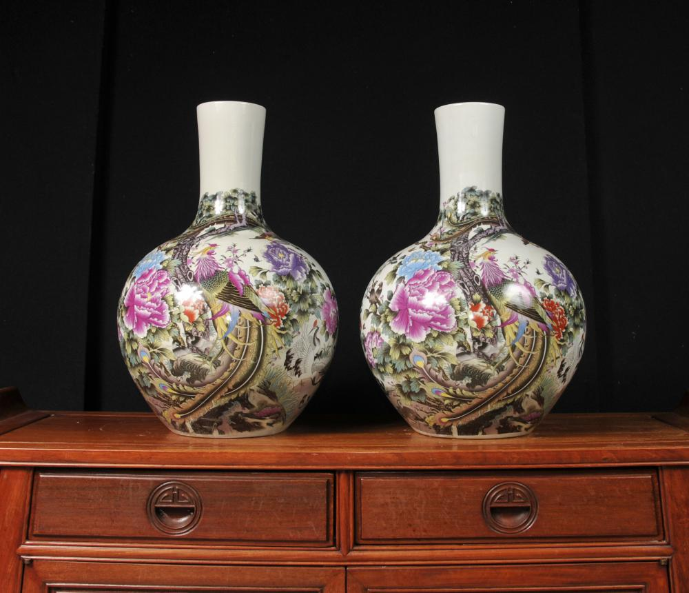 Oiseaux Paire chinoise Ming porcelaine Shangping Vases Urnes