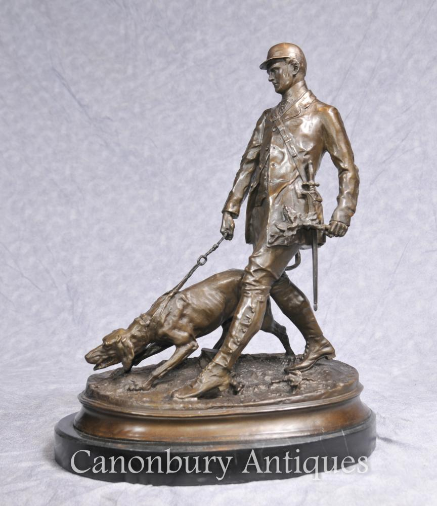 PJ Mene Bloodhound Hunter Statue casting Man Dog
