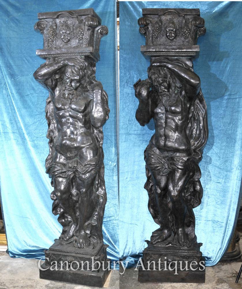 Paire 8 ft Bronze Atlas Homme Figurine Statues Architectural Classique