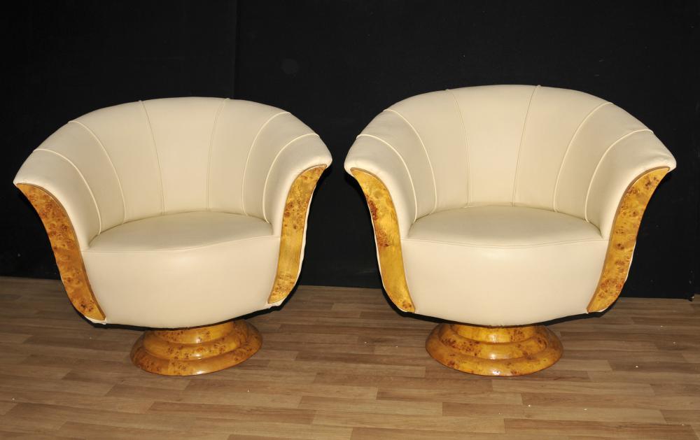 Paire Art Deco club Chaises Chaise bras pivotant