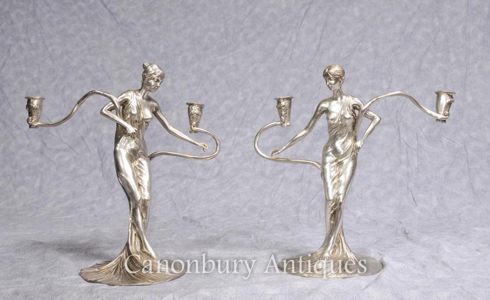 Paire Art Nouveau français Argent Plaqué Femme Candélabres Bougies Figurines