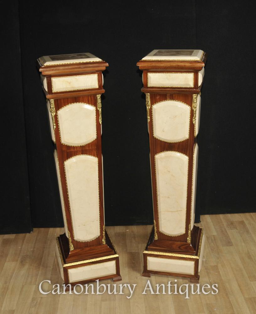 Paire Empire Pedestal Support Tables Colonnes Carrera Marbre