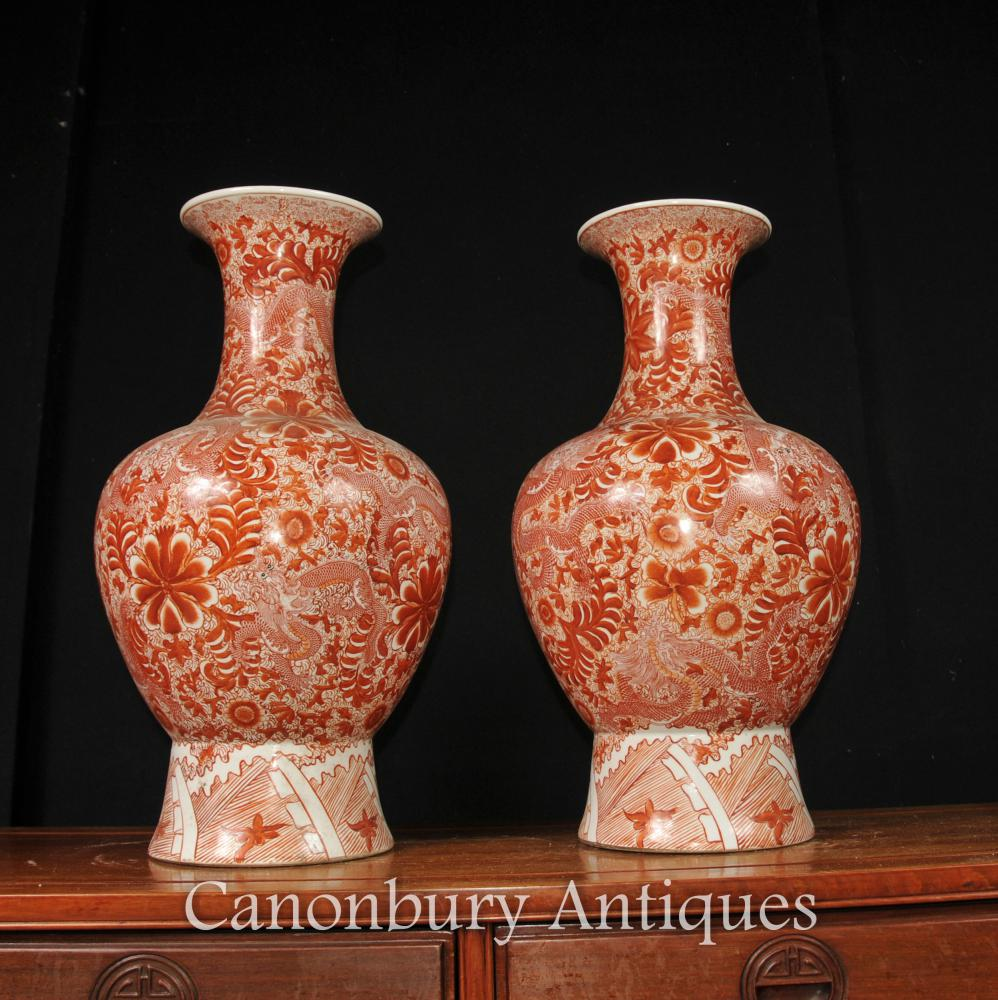 Paire Imperial Rouge chinoise cinabre Porcelaine Floral Vases Urnes