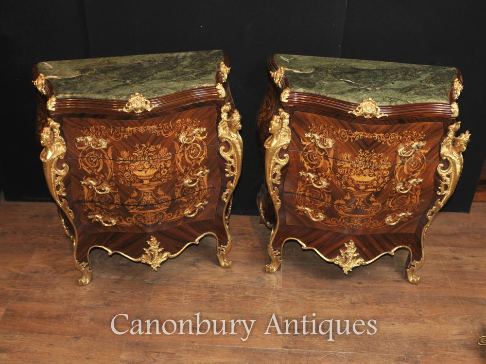 Paire Louis XV Commode Bombe Commode Marqueterie Inlay
