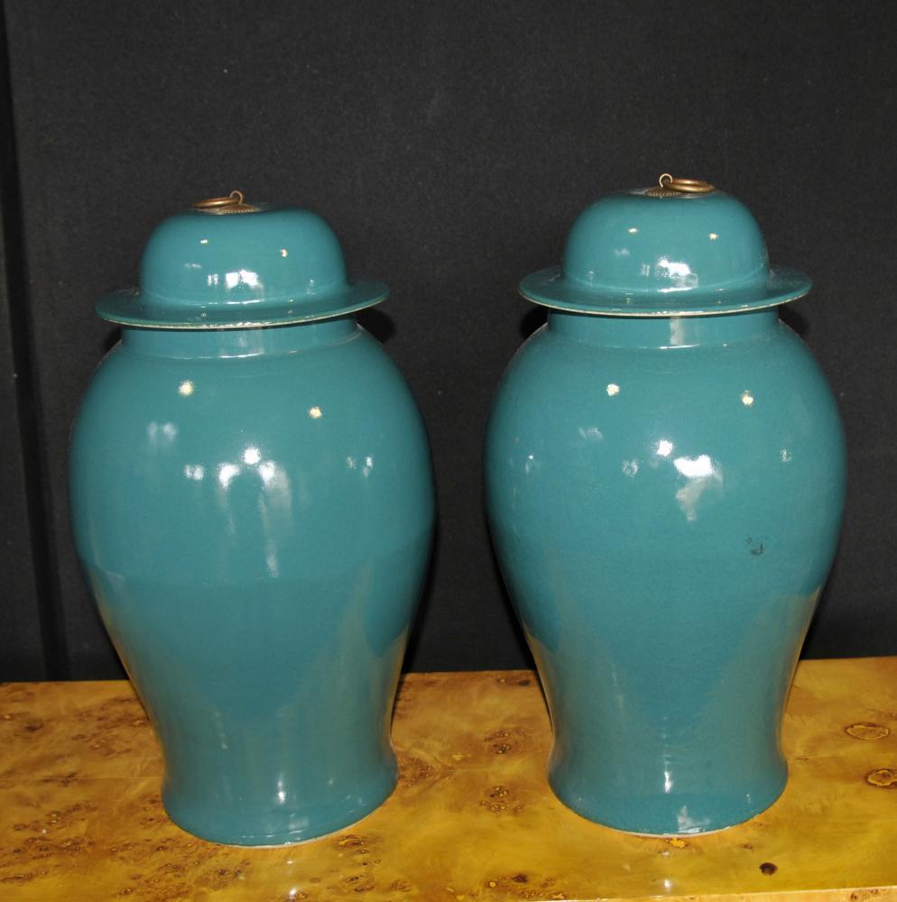 Paire chinois Kangxi Porcelaine Temple Jars Lidded Ginger Urnes Vases