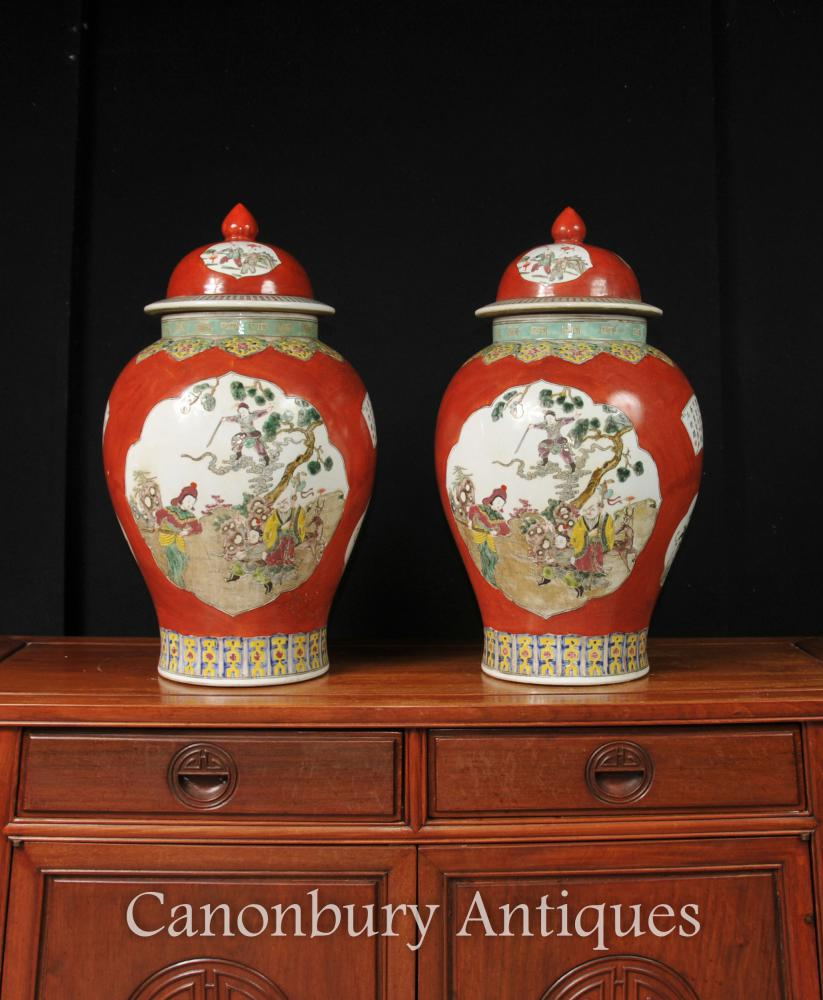 Paire chinois Qing porcelaine Ginger Jars Vases Temple Jars Imperial Red