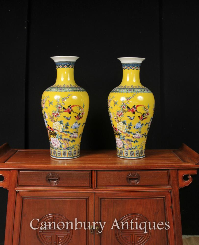 Paire chinoise Ming jaune porcelaine Urnes Chine Poterie