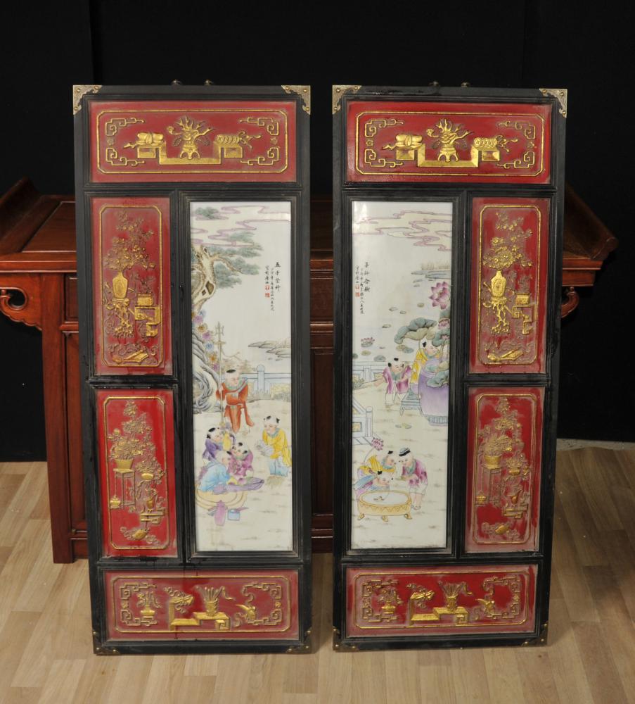 Paire porcelaine chinoise Qianlong Plaques Plaques d'écran Hanging Céramique