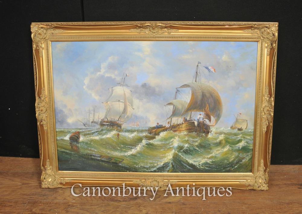Peinture à l huile française Seascape Normandie Maritime Bateaux